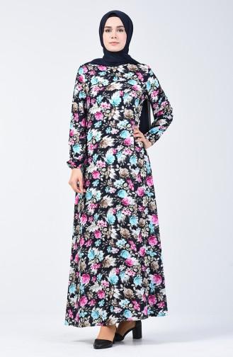 Kolu Lastikli Desenli Viskon Elbise 0071-02 Siyah Mavi