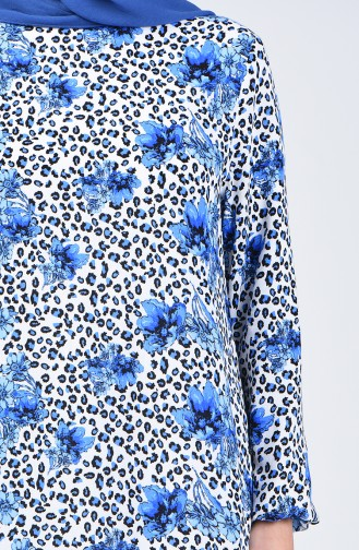 Kolu Lastikli Desenli Elbise 0074-01 Mavi