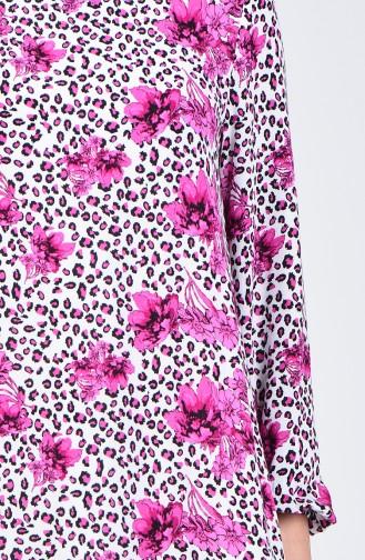 Kolu Lastikli Desenli Elbise 0074-02 Fuşya