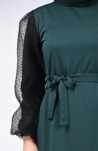 Balon Kol Kuşaklı Elbise 2007-02 Zümrüt Yeşili 2007-02
