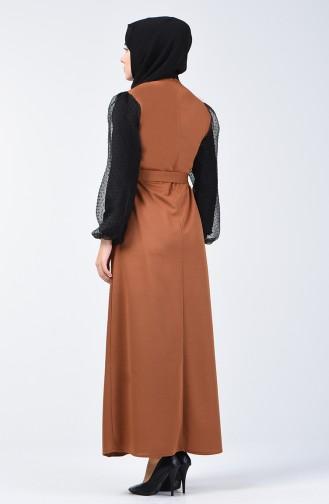 Balon Kol Kuşaklı Elbise 2007-03 Taba