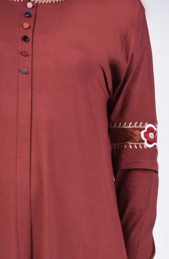 Büyük Beden Düğme Detaylı Tunik 6037-05 Kahverengi