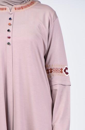 Big Size Button Detail Tunic Mink 6037-06
