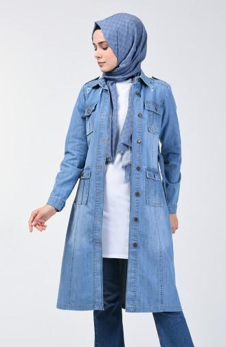 Buttoned Belted Denim Jacket 6083-01 Jeans Blue 6083-01