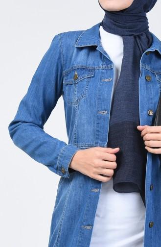 Düğmeli Kot Kap 6081-01 Kot Mavi