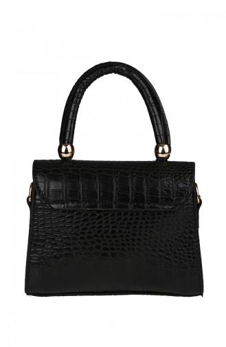 Bayan Çapraz Omuz Çantası M380-005 Siyah Kroko