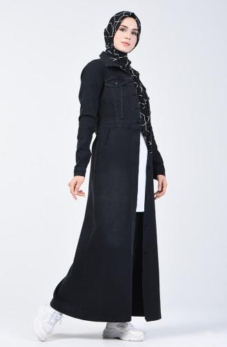 معطف فوقي أسود 6080-01