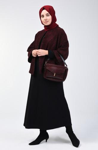 طقم فستان وجاكيت أحمر كلاريت 4448-02