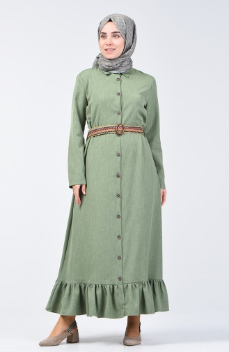 Kemerli Elbise 2104-01 Haki