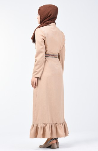 Kemerli Elbise 2104-02 Bej