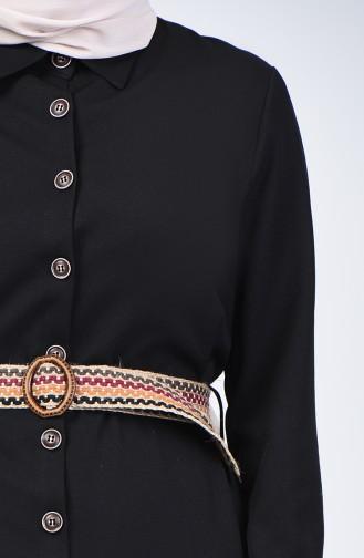 Kleid mit Gürtel 2104-03 Schwarz 2104-03