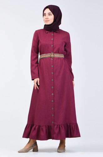 Kemerli Elbise 2104-04 Mürdüm