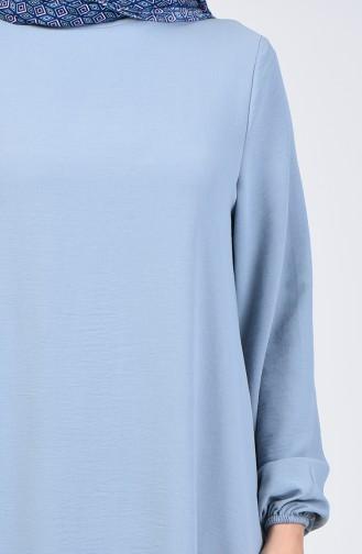 Aerobin Kumaş Kolu Lastikli Elbise 0061-13 Mavi