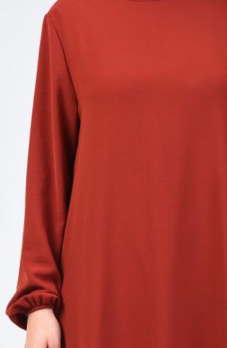 فستان بأكمام مطاط قماش آيروبين نحاسي داكن 0061-14