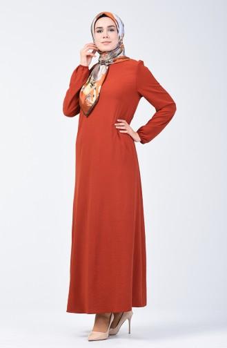 Aerobin Kumaş Kolu Lastikli Elbise 0061-15 Bakır