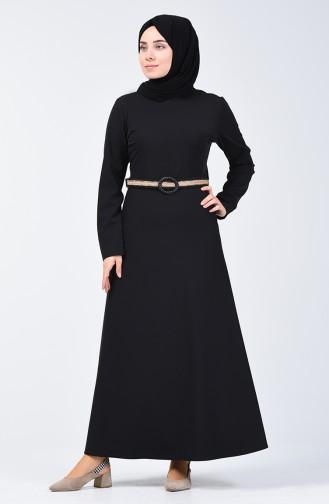 Kemerli Elbise 6202-01 Siyah