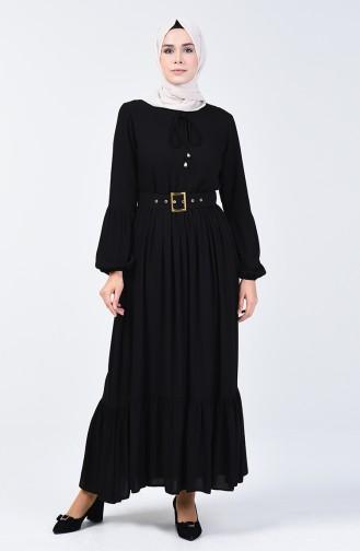Kemer Detaylı Elbise 4534-01 Siyah