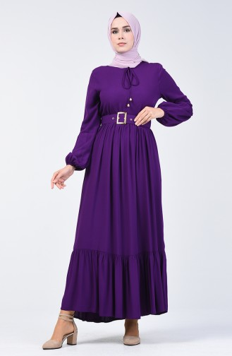 Kemer Detaylı Elbise 4534-05 Mor