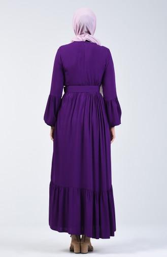 Gürtel Detailliertes Kleid 4534-05 Lila 4534-05
