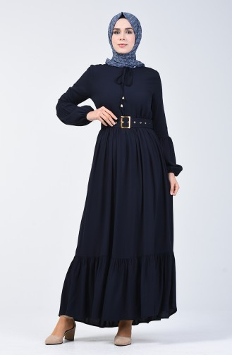 Kemer Detaylı Elbise 4534-08 Lacivert