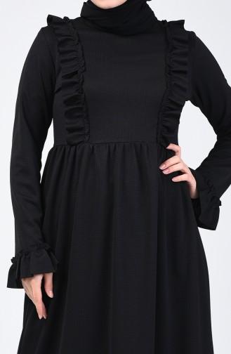 Fırfırlı Elbise 1424-06 Siyah