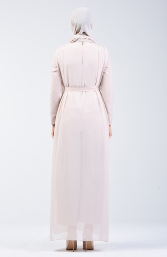 Chiffon Detailed Belted Rumper 1411-03 Stone 1411-03
