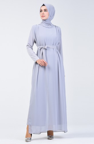 Chiffon Detailed Belted Rumper 1411-04 Grey 1411-04