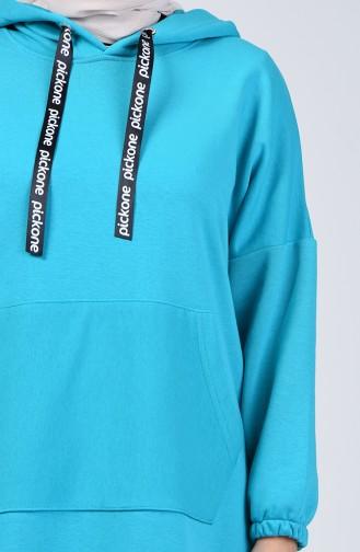 Hooded Long Tunic 9040-02 Turquoise 9040-02
