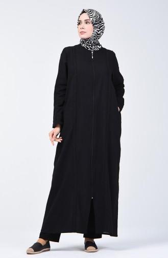 Abaya mit Reissverschluss aus Şile-Stoff 2000-03 Schwarz 2000-03