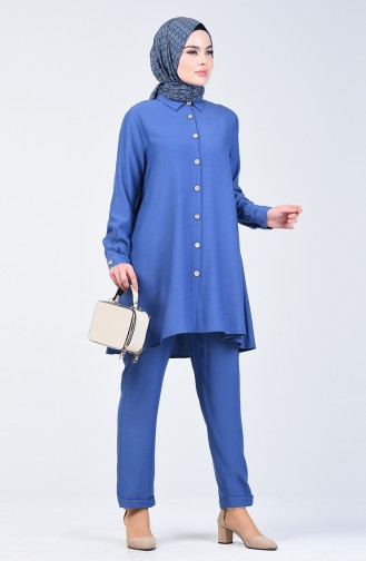 Düğmeli Tunik Pantolon İkili Takım 1310-02 İndigo