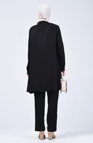 Düğmeli Tunik Pantolon İkili Takım 1310-03 Siyah