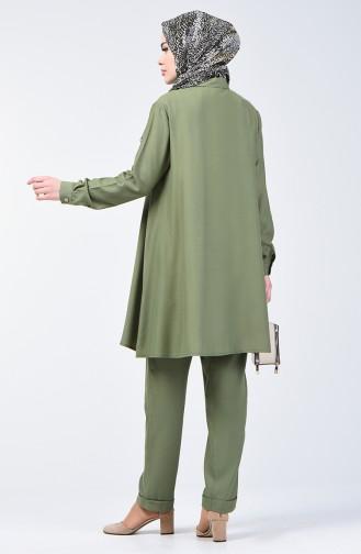 Düğmeli Tunik Pantolon İkili Takım 1310-04 Haki