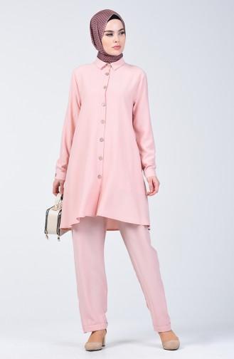 Düğmeli Tunik Pantolon İkili Takım 1310-05 Pudra