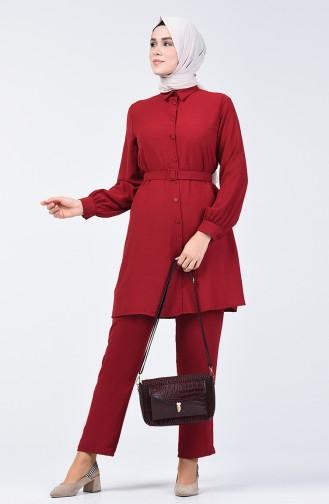 Aerobin Kumaş Kemerli Tunik Pantolon İkili Takım 5493-01 Bordo