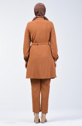 Aerobin Kumaş Kemerli Tunik Pantolon İkili Takım 5493-04 Açık Taba