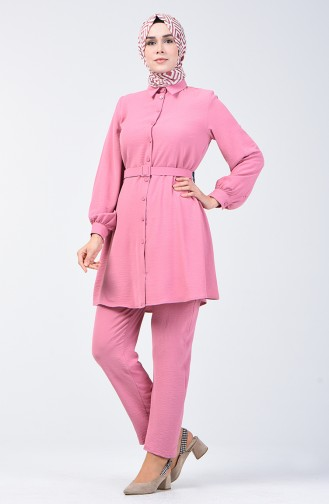 Aerobin Kumaş Kemerli Tunik Pantolon İkili Takım 5493-06 Pudra