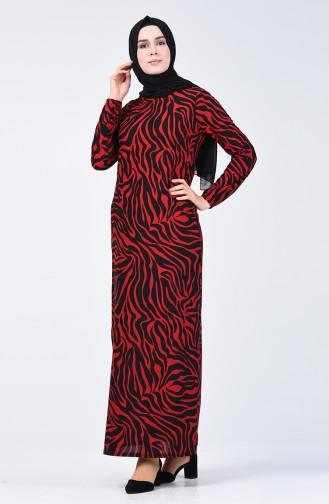 Desenli Elbise 8859-06 Kırmızı