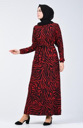 Desenli Kuşaklı Elbise 8862-05 Kırmızı 8862-05
