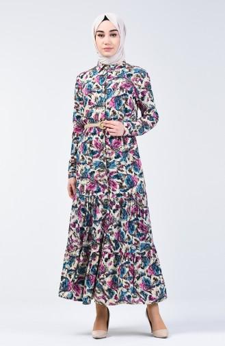 Flower Patterned Viscose Dress 0351-01 Lilac 0351-01