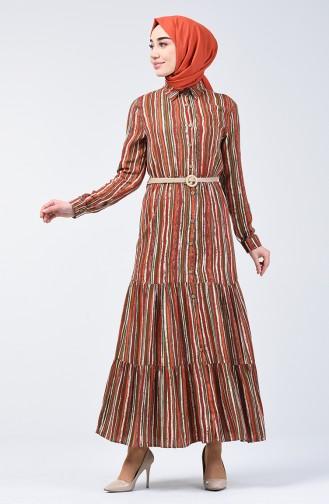 Striped Viscose Dress 0355-01 Red 0355-01