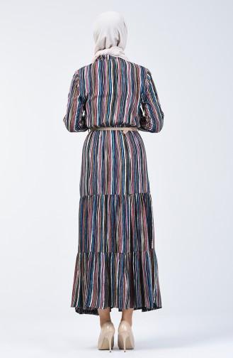 Çizgili Viskon Elbise 0355-02 Mavi