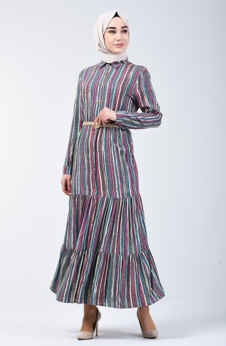 Striped Viscose Dress 0355-03 Smoke 0355-03