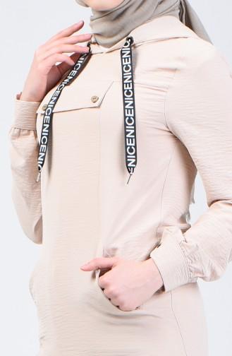 Hooded Sports Tunic 1405-03 Stone 1405-03