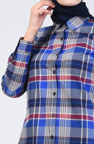 Kareli Tunik 6444-02 Mavi