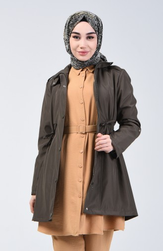 Trench Coat à Fermeture 1409-02 Khaki 1409-02