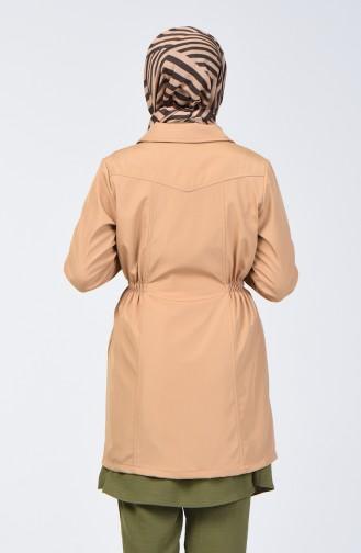 Zippered Trench Coat 1409-05 Caramel 1409-05