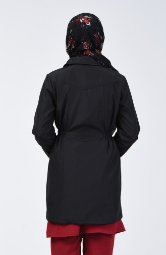 Fermuarlı Trençkot 1409-03 Siyah