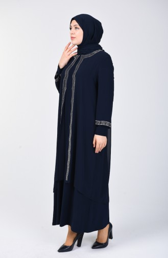 Plus Size Stone Print Evening Dress 3152-01 Navy Blue 3152-01