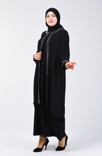 Robe de Soirée İmprimée de Pierre Grande Taille 3152-02 Noir 3152-02