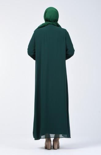 Büyük Beden Taş Baskılı Elbise 7820-07 Zümrüt Yeşili 7820-07